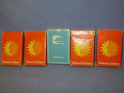Vintage Pan Am & National Airlines Playing Cards - Lot of 5 /  DB 70