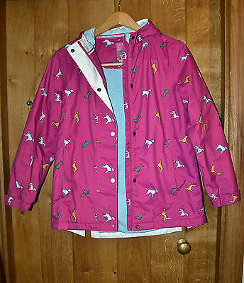 Joules jacket girl's size 11-12 years pink dogs fleece lined
