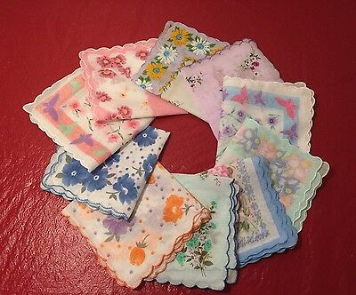 SET 10 LADIES HANKIES Floral Vintage Style Cotton Handkerchief