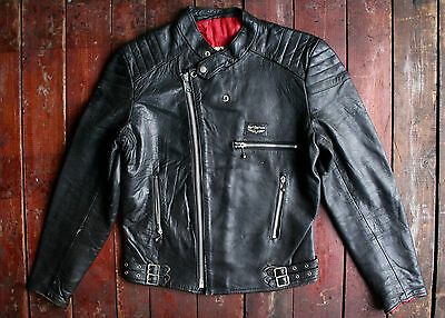 VTG 1970s LEWIS LEATHERS MONZA MOTORCYCLE JACKET LIGHTNING AVIAKIT CLIX ZIP 40