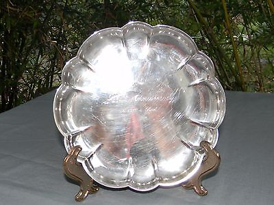 Gorham Silverplate Small Footed Scalloped Edge Tray 25th Anniversary Mom & Dad