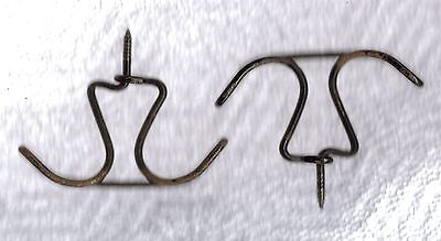 2 Twisted Wire Double Shabby Cottage Primitive Coat Hat Hanger Closet Hooks #3