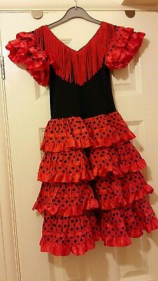 Girls black & red spotty Spanish flamenco dress - dressing up costume age 6