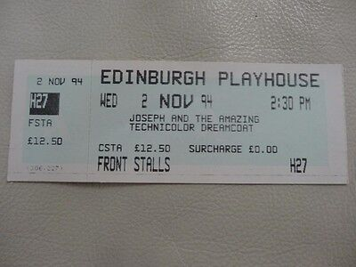 Ticket Stub Amazing Technicolor Dreamcoat Edinburgh Playhouse .london Production