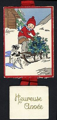 1935 CALENDAR French New Year - LITTLE BOY & DOG in the Snow Complete