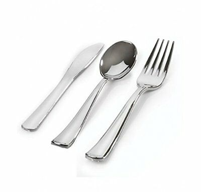 Stock Your Home 100 Sets Plastic Silverware, Looks Like Silver Cutlery Combo ...
