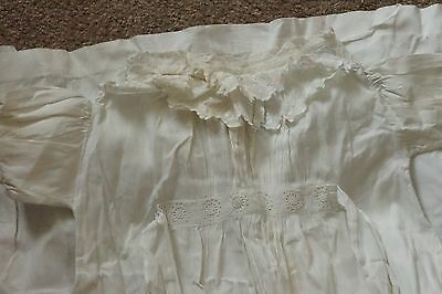 Victorian/Edwardian Cotton Child's Dress - Double Lace Frill at Neck