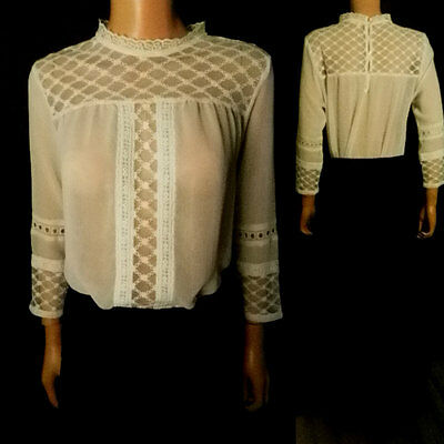 Lace Blouse Victorian Style  Frill Collar Tunic Vintage Style  Long Sleeves 16