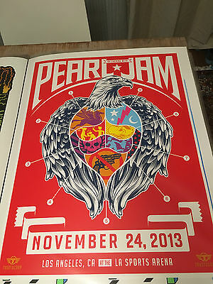 Pearl Jam Los Angeles L.A. 2013 silkscreen concert poster by Trustocorp