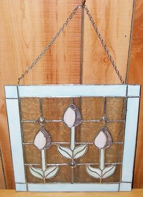 "BEAUTIFUL 12"" x 11.5"" HANGING STAINED GLASS WINDOW 3 TULIPS CLEAR ETCHED GLASS"
