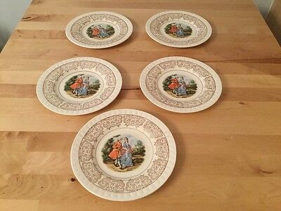 Vintage Barratts Of Staffordshire Georgian 5 Side Plates in Excellent Cond