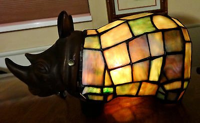 Rhinoceros Night Light Stained Glass Tiffany Style  Cast Iron Decor Brand New