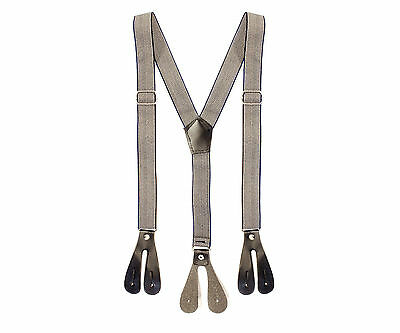 25mm Boys Braces Grey Navy Button Hole Elastic Wide Suspenders Trousers
