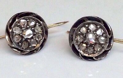 Antique Victorian Rose Cut Diamond Cluster Dangling Earrings 18K/Sterling Silver