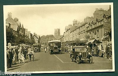 MOLD,HIGH ST WITH SHOPS,BUS,MARKET,TRAFFIC & PEOPLE, vintage postcard