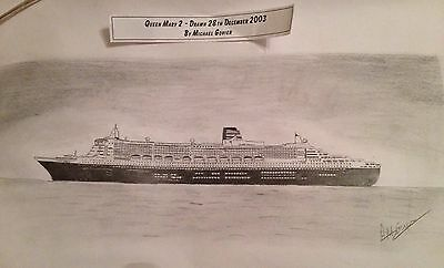 Cunard QM2 Queen Mary 2 Original Pencil Drawing Signed by Artist 2003