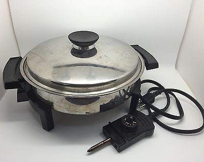 Lifetime Liquid Core Stainless Steel Electric Skillet, 120V 900 Watts (RF357)