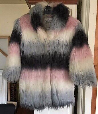 Stunning Next Girls Faux Fur Coat Age 5 - 6 Years