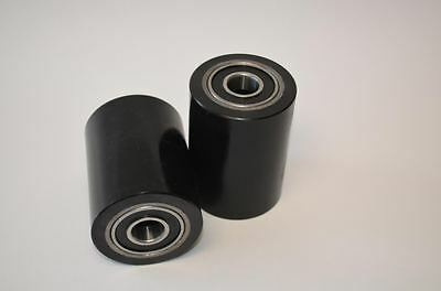 "Pair of Brand New Pallet Jack Poly Load Wheels With Bearings 2.75""D x3.75""W"