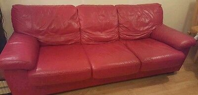 Leather 3 seater sofa bed