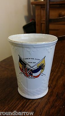 Ww1 Flags Of The Allies War 1914 Cup Alcocks / Excelsior Like Peace Beaker