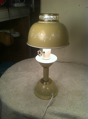 VTG 50s 40s TAN TOLE LAMP DESK LIGHT FIXTURE NICE!