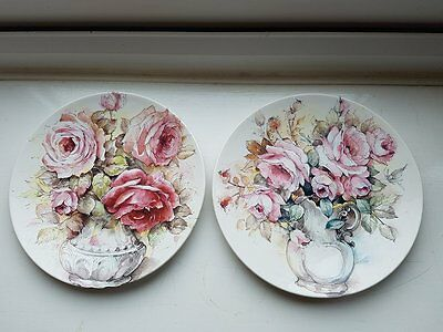 2 Poole pottery  pretty Rose plates 6in diameter Each BOTH in Great condition