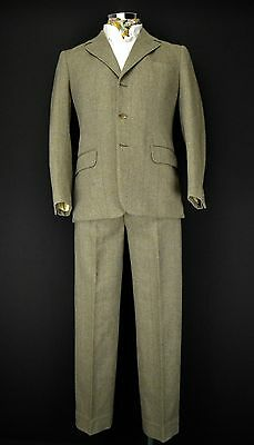 "Bespoke Tailored Heavy Twill 3 Button Suit 38"" Short Town & Country Check Tweed"