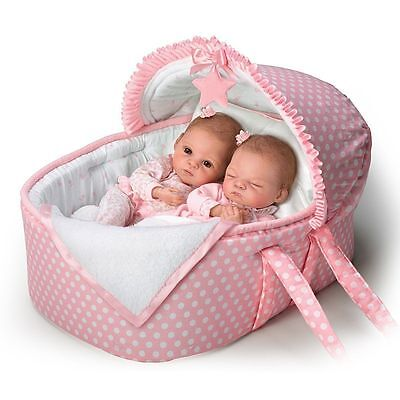 Ashton Drake - Lullaby Twins Baby Dolls With Bassinet By Waltraud Hanl
