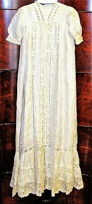 "Vtg Victorian French Silk And Lace Handmade Christening/baptismal Gown-36"" Long"