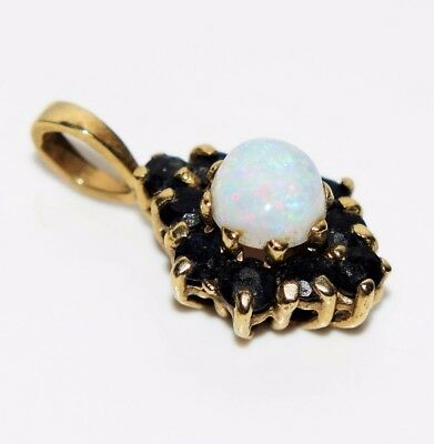 Gorgeous Opal Sapphire 9ct Yellow Gold Cluster Pendant