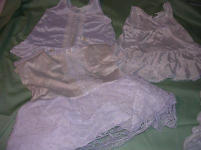 Lot of 6 Vintage Girl Child Baby Clothes Clothing White Slips Lace sz 1yr to 6