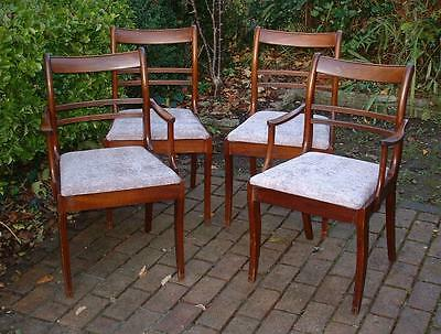 Set of Four Solid Wood Elegant Vintage Dining Chairs - New Upholstery