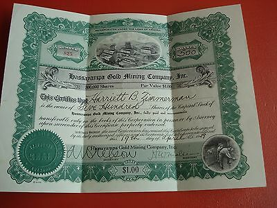 Hassapampa Gold Mining Company, Inc Stock Certificate - 500 Shares - Number 825