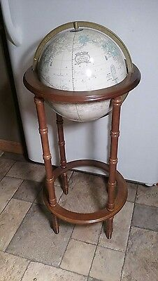 "Vintage 1970s Crams 12"" Imperial World Globe With Wood Stand"