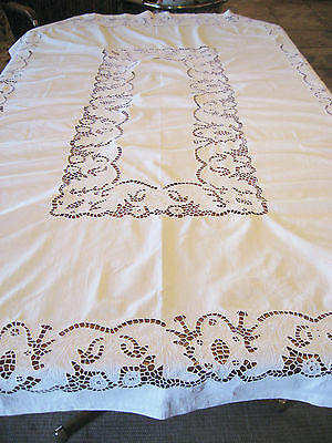 "Gorgeous Vintage Heavy White Cotton Cutwork Embroidery Tablecloth - 75""x53"""