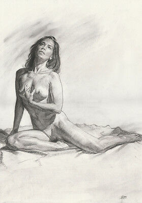 Female Nude, ORIGINAL A3 sized Charcoal Drawing by Jim Montgomery, Realism style