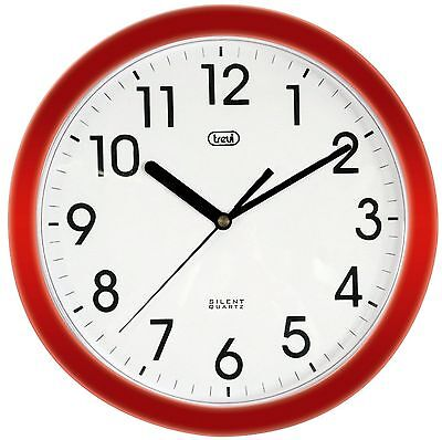 Red Completely Silent Round Wall Clock • Quartz Sweep Movement • Quiet no tick