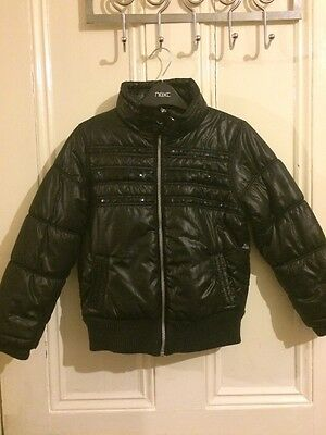 Girls Next Black Bomber Jacket Puffa Jacket Coat 7-8 Years Ex Condition & V Warm