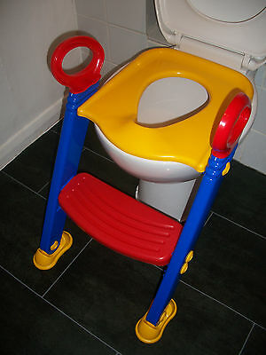 Childrens Toddler Folding Step Ladder Toilet Trainer With Handles