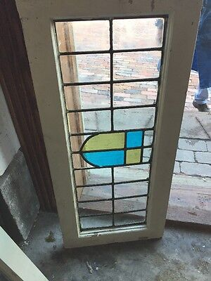 "Sg 934 Antique Transom Window Stainglass 14.5"" X 32"""