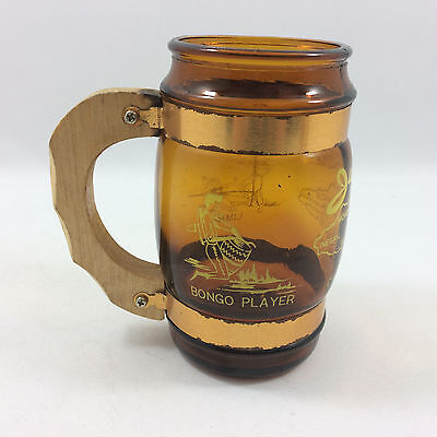 Jamaica Brown Glass With Wooden Handle Tankard 1970s Vintage