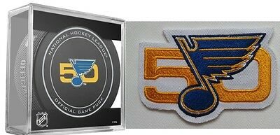 """St. Louis Blues Puck & Patch 50Th Anniversary """"blue / Gold"""" Nhl Team Store Style"""