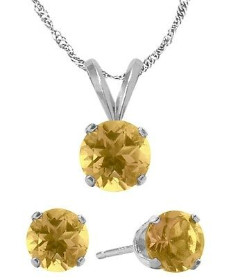 14K WG Genuine 1.20tcw. Citrine Solitaire Pendant and Earrings Set