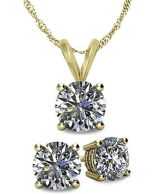 14K YG Genuine 1.65tcw. White Topaz Solitaire Pendant and Earrings Set