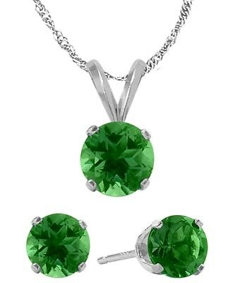 14K WG Created 1.35tcw. Emerald Solitaire Pendant and Earrings Set