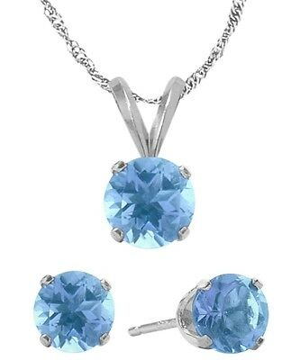 14K WG Genuine 1.65tcw. Blue Topaz Solitaire Pendant and Earrings Set