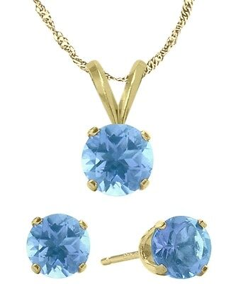 14K YG Genuine 1.65tcw. Blue Topaz Solitaire Pendant and Earrings Set