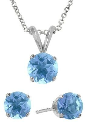 2.55 Carat Genuine Blue Topaz Pendant & Earrings Set