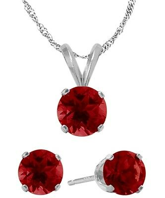 14K WG Created 1.65tcw. Ruby Solitaire Pendant and Earrings Set